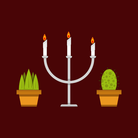 Candle holder and plants icon