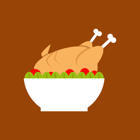 Chicken roast in a bowl