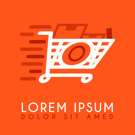 White and orange shopping cart letter O icon design.