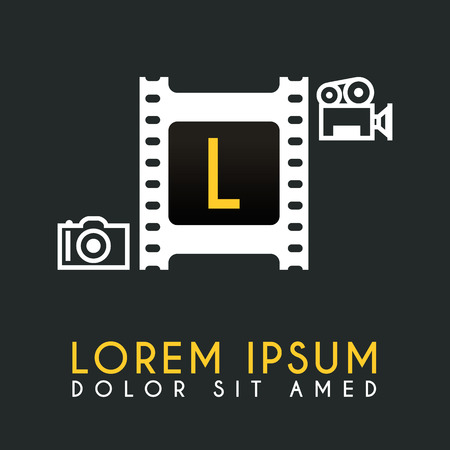 L Letter Logo Design with piece of Film