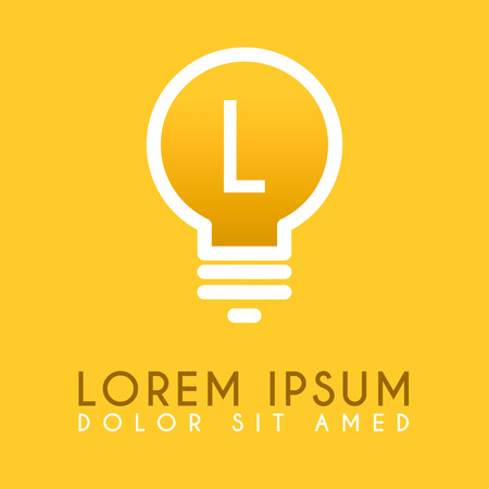 L yellow lamp  logo letter in vector design Ilustração
