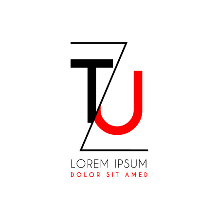 Letters T and U icon separated by a black zigzag line. Иллюстрация