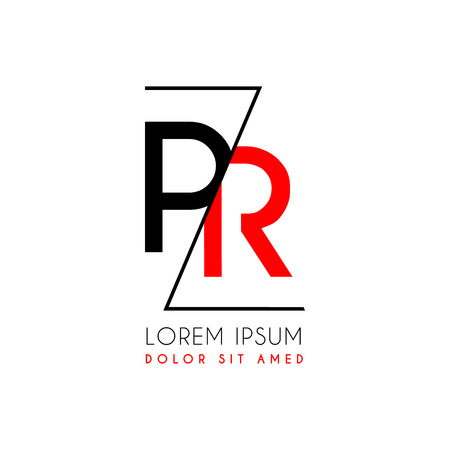 Letters P and R icon separated by a black zigzag line. Ilustração