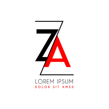 Letters Z and A icon separated by a black zigzag line. Vektorové ilustrace