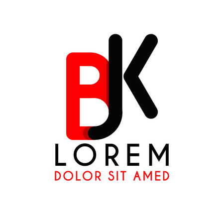 Initial letters B and K with red and black with rounded corners. Illustration