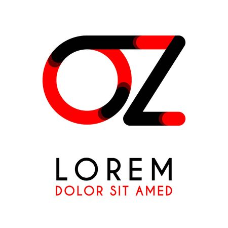 initial Letter OZ with red Black and has rounded corners Illustration