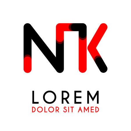 Initial Letter NK with red and black colors and has rounded corners. Illusztráció