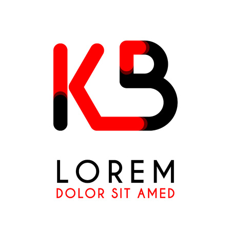 initial Letter KB with red Black and has rounded corners Illustration