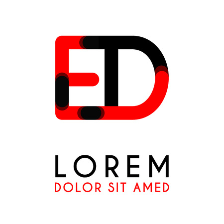 initial Letter ED with red Black and has rounded corners Illustration
