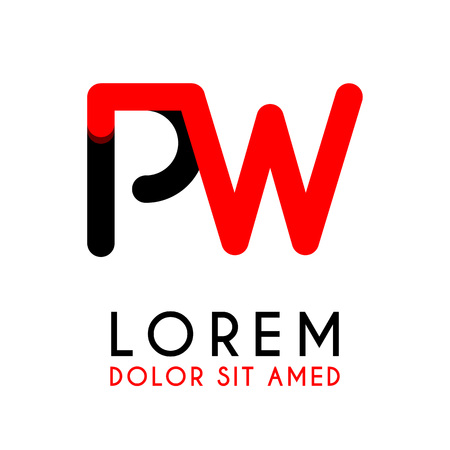 Initial Letter PW with red Black and has rounded corners Illustration