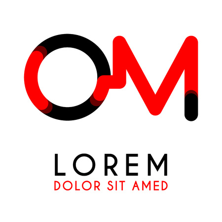 initial Letter OM with red Black and has rounded corners Illustration