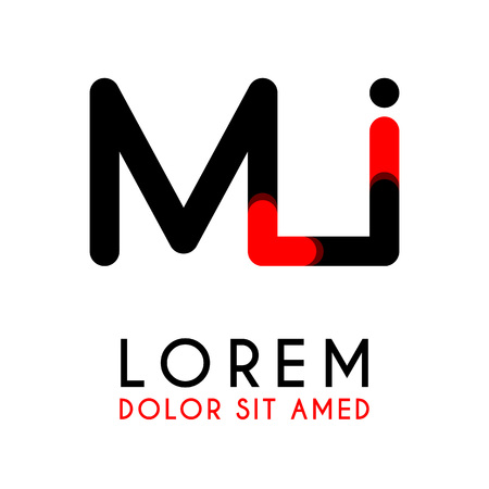 initial Letter MI with red Black and has rounded corners Illustration