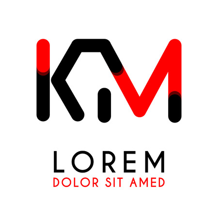 initial Letter KM with red Black and has rounded corners Illustration