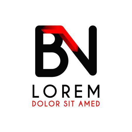 BN Letter black logo with gradient arrow