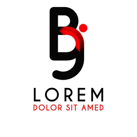 BJ Letter black logo with gradient arrow