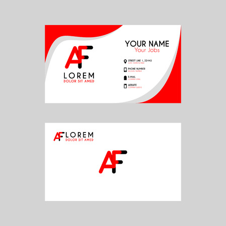 Simple Business Card with initial letter AF rounded edges
