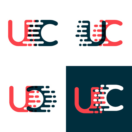 UC letters logo with accent speed dark red and dark blue Vector illustration. 일러스트