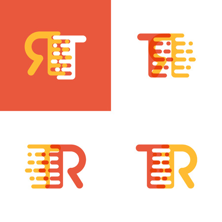 TR letters with accent speed soft orange and yellow
