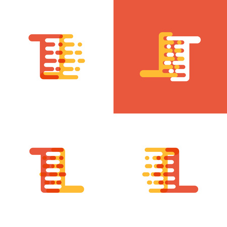 TL letters logo with accent speed soft orange and yellow Vector illustration. Logó