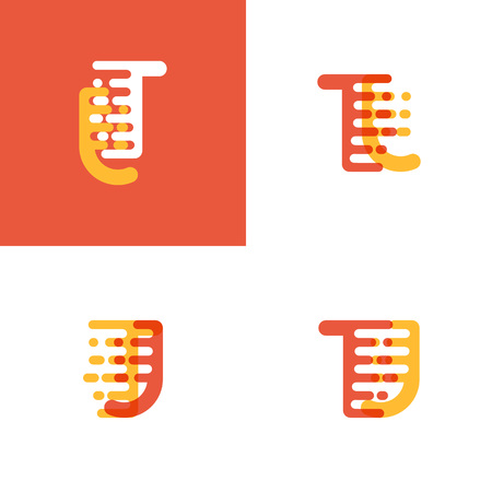 TJ letters logo with accent speed soft orange and yellow Vector illustration. Logó