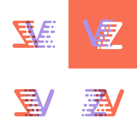 ZV letters logo with accent speed orange and lavender Vector illustration. Ilustrace