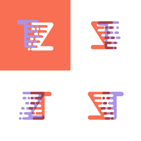 ZT letters logo with accent speed orange and lavender