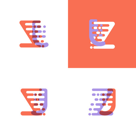 ZJ letters logo with accent speed orange and lavender Vector illustration. 일러스트