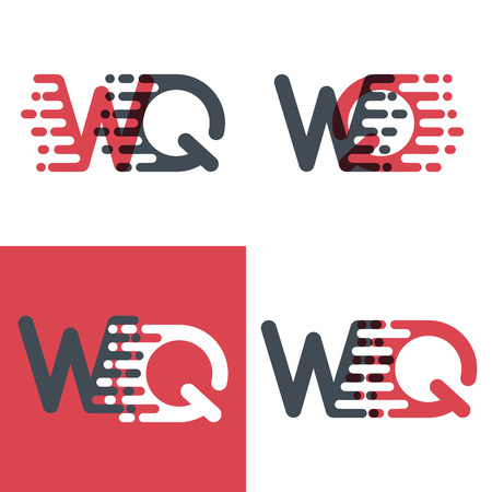 WQ letters logo with accent speed pink and dark gray Vector illustration.  イラスト・ベクター素材