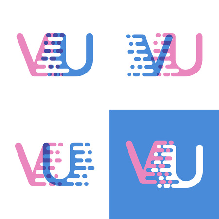 VU letters logo with accent speed soft pink and soft blue Ilustração