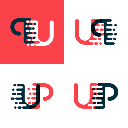 UP letters logo with accent speed dark red and dark blue