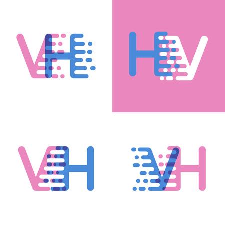 VH letters with accent speed soft pink and soft blue Vektoros illusztráció