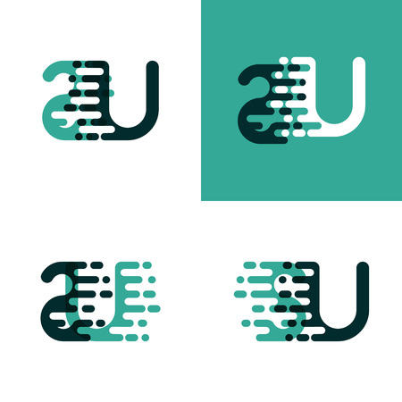 SU letters logo with accent speed in light green and dark green
