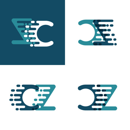 CZ letters logo with accent speed in light green and dark blue