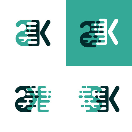 SK letters logo with accent speed in light green and dark green