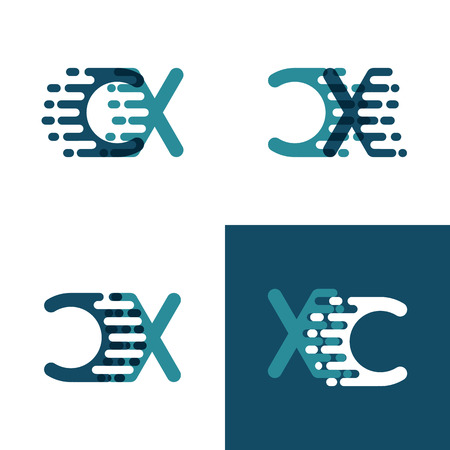 CX letters logo with accent speed in light green and dark blue Ilustração