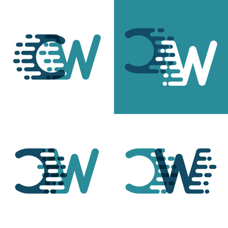 CW letters logo with accent speed in light green and dark blue