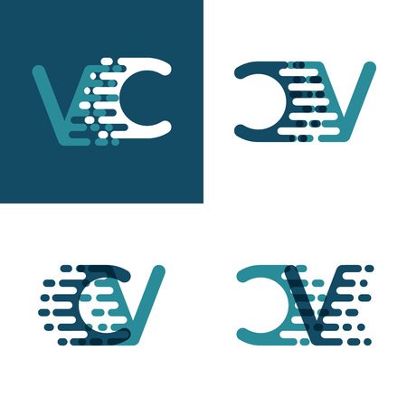 CV letters logo with accent speed in light green and dark blue