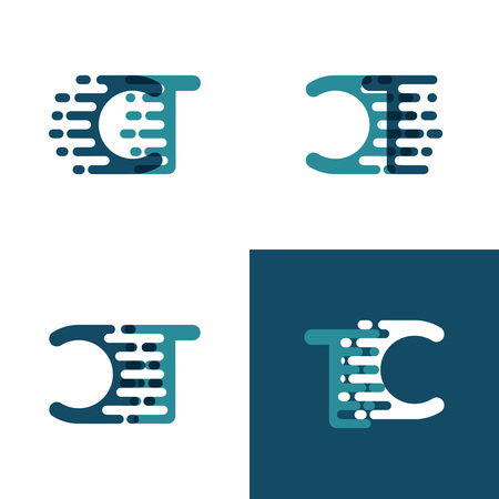 CT letters logo with accent speed in light green and dark blue Ilustrace