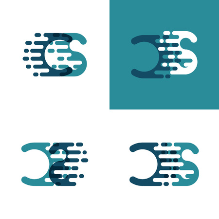 CS letters logo with accent speed in light green and dark blue