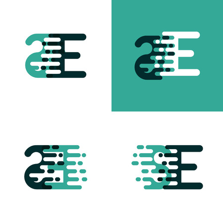 SE letters logo with accent speed in light green and dark green Ilustração