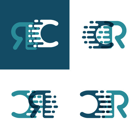 CR letters logo with accent speed in light green and dark blue Ilustração
