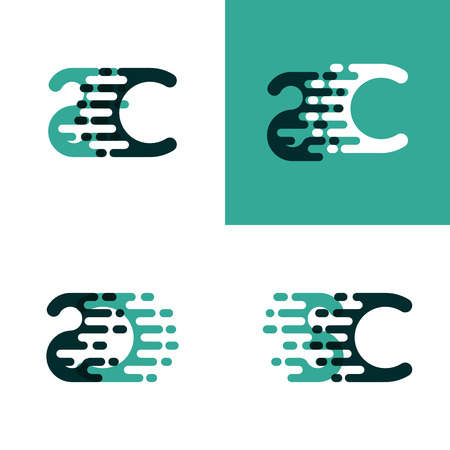 SC letters logo with accent speed in light green and dark green Illusztráció
