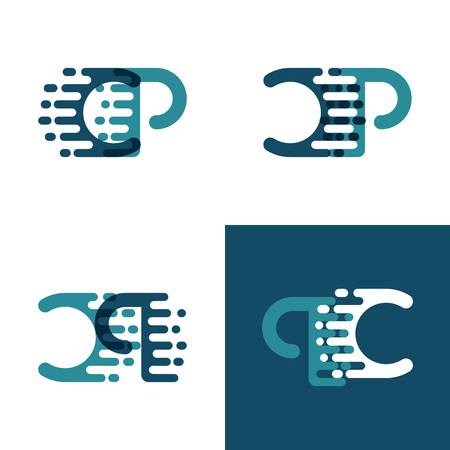 CP letters logo with accent speed in light green and dark blue Ilustrace