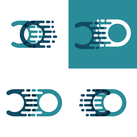 CO letters logo with accent speed in light green and dark blue
