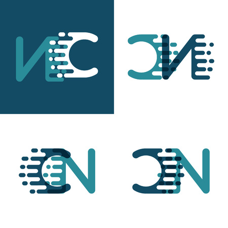 CN letters logo with accent speed in light green and dark blue Ilustrace