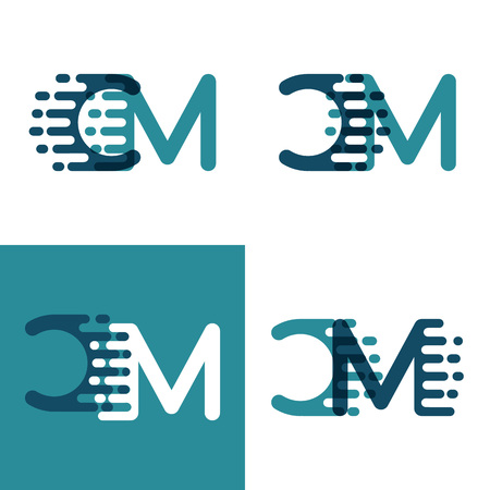 CM letters logo with accent speed in light green and dark blue