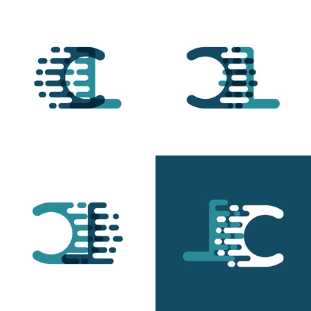 CL letters logo with accent speed in light green and dark blue