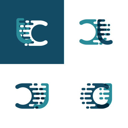 CJ letters logo with accent speed in light green and dark blue Ilustrace