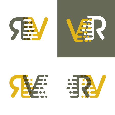 RV letters logo with accent speed in brown and dark yellow
