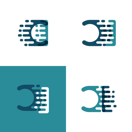 CI letters logo with accent speed in light green and dark blue Ilustrace